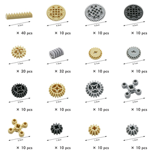 Image 2 - Building Blocks Technic Parts Gear Cross Axles pin Car train wheels Truck Accessories Set Connector Toy compatible Bricks 650PCS