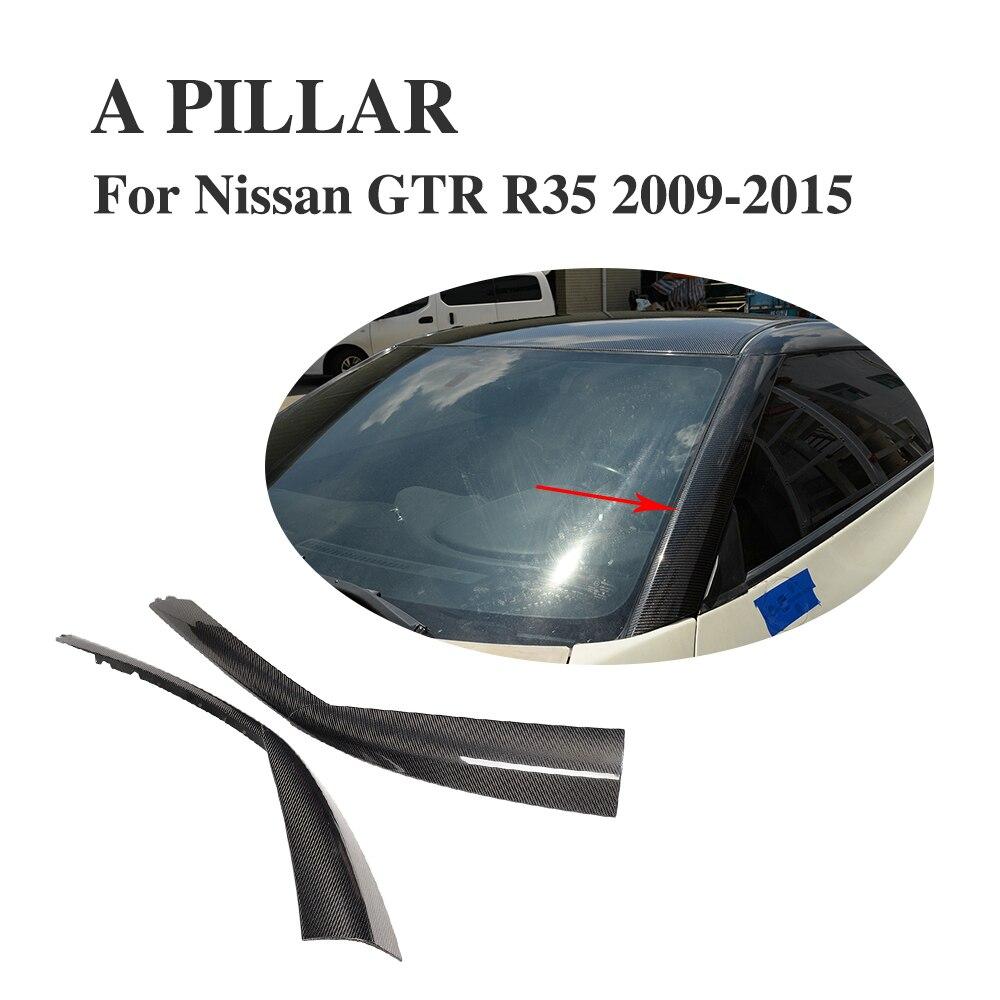 Carbon Fiber Roof A Pillar Exterior Molding Panelfor Cover For Nissan R35  GTR 2009 2010 2011 2012 2013 2014 2015
