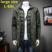 Новые Большие размеры 8XL 7XL 6XL полиэстер зимние куртки и пальто толстые теплые модные Повседневное красивый молодой Для мужчин парка Fit Снег