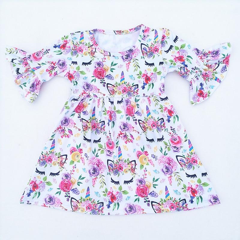 summer 2018 new arrival unicorn dress trendy floral milk silk baby dress latest dress for kids trendy flat collar sleeveless pocket design buttoned dress for women