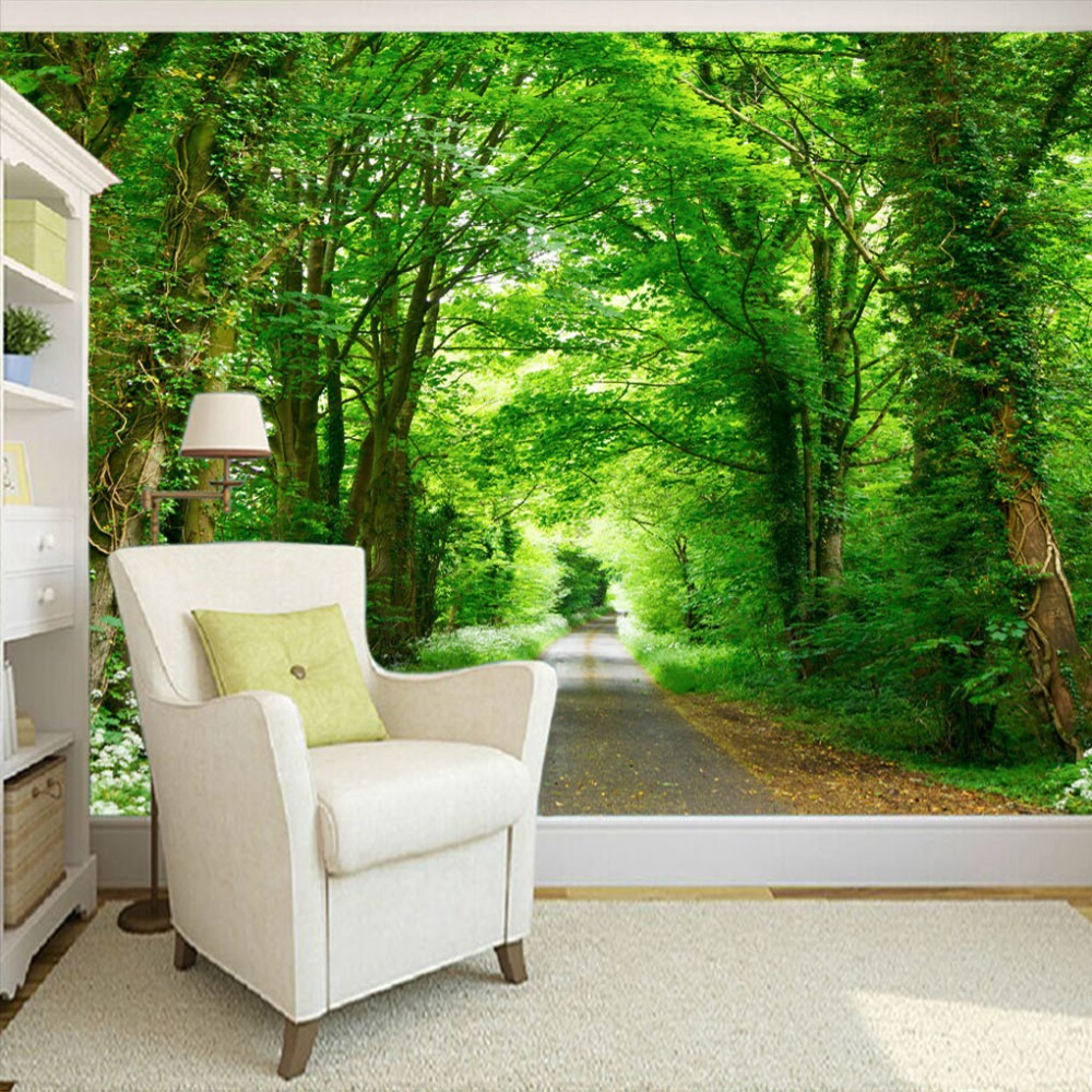 Custom Mural Painting Forest Green Trail TV Background Wall Decorative Painting Living Room Study Bedroom Wallpaper Home Decor