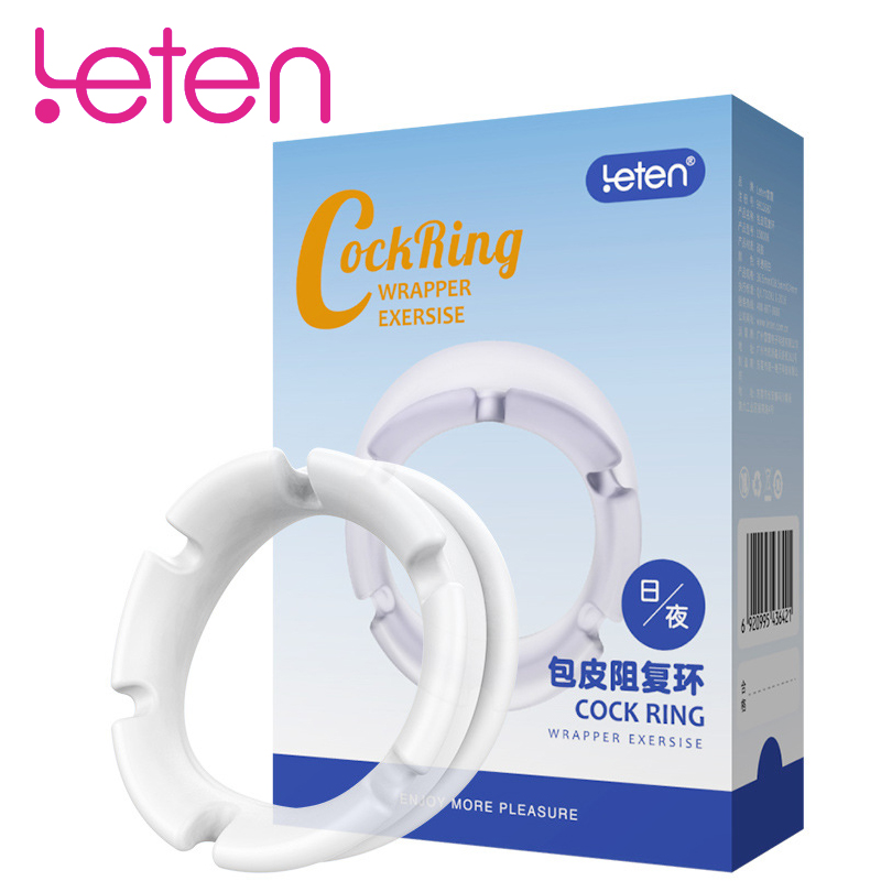 Leten Day&Night Foreskin Resistance Penis Ring Glans Time Delay Trainer Cock penis Enlargement Rings Adult Sex Toys For Men 2pcsLeten Day&Night Foreskin Resistance Penis Ring Glans Time Delay Trainer Cock penis Enlargement Rings Adult Sex Toys For Men 2pcs