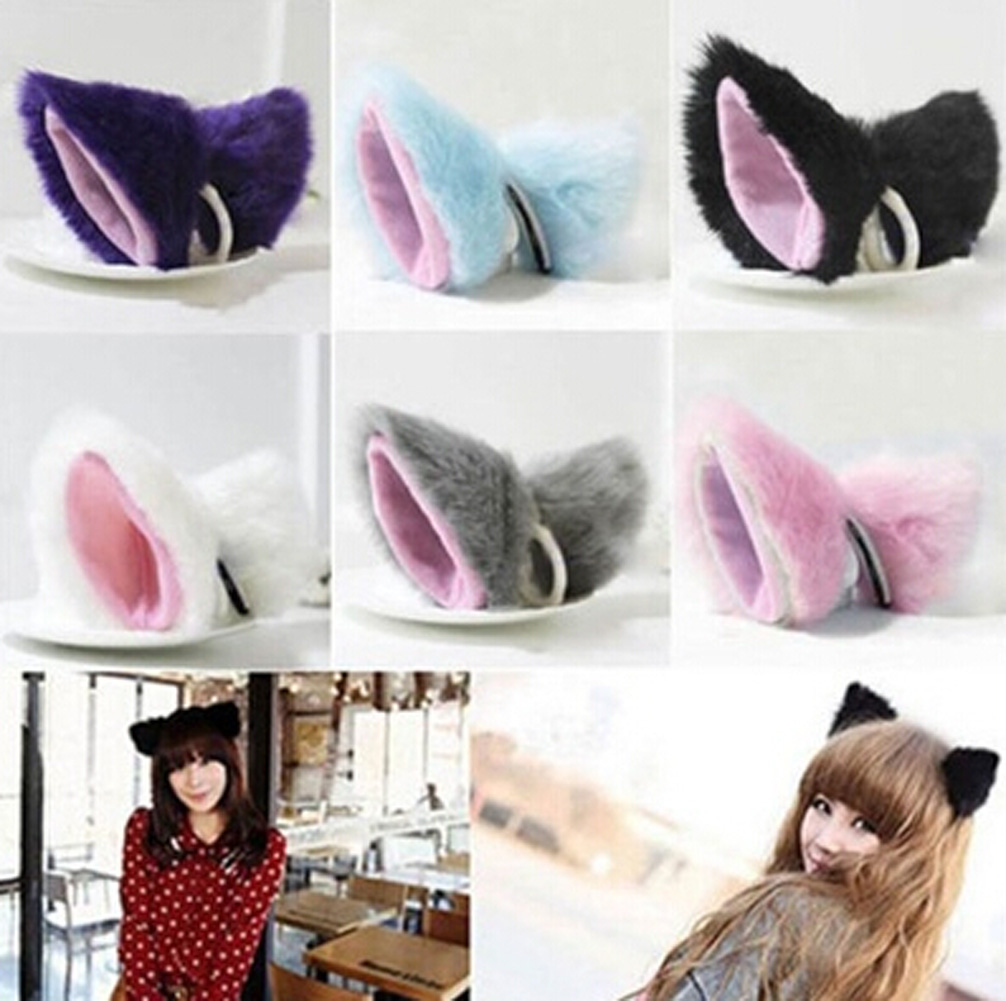 Costume Hairpins Fox-Ears Cosplay Party Anime 1-Pair Cat Faux-Fur Long