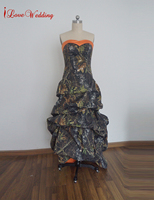 iLoveWedding New A-Line Camo Wedding Dresses Sleeveless Sweetheart Lace up Back Hi-Lo Camouflage Bow Tiered Bridal Gowns Custom
