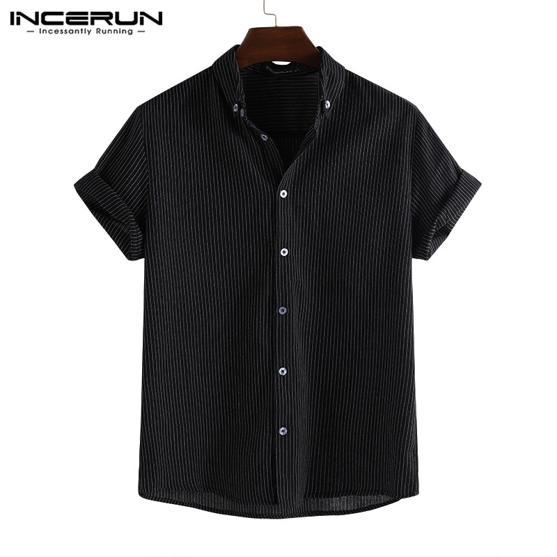 2020 Fashion Striped Short Sleeve Men Shirt Summer Lapel Casual Loose Breathable Camisa Masculina Brand Shirts Men INCERUN S-5XL