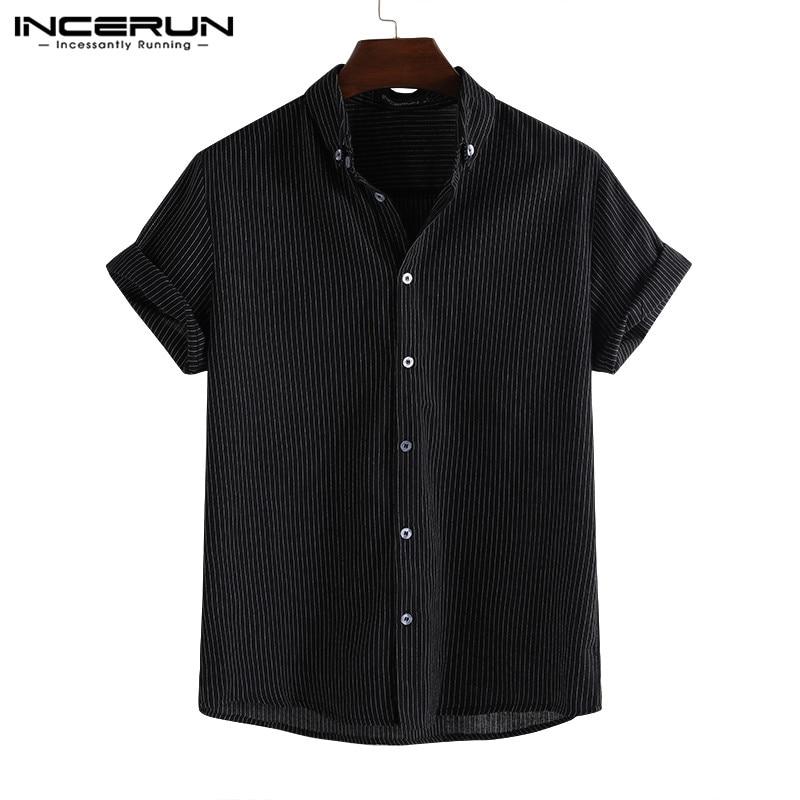 2020 Fashion Striped Short Sleeve Men Shirt Summer Lapel Casual Loose Breathable Camisa Masculina Brand Shirts Men INCERUN S-5XL