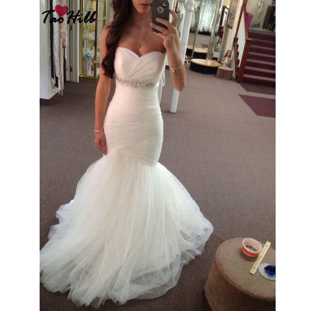 tao colina vestido de novia sirena sin tirantes del cuello del amor