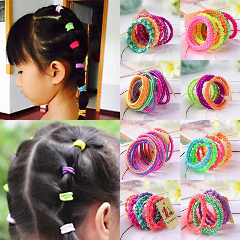 10 Pcs Random Fashion Hairbands Hair Rope Holder Candy Color Hair Ties Elastic Ponytail Head Band Girls Rubber Fashion