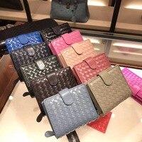Women's purse 2019 Zipper card position High quality sheepskin A small purse Hand knit Genuine leather