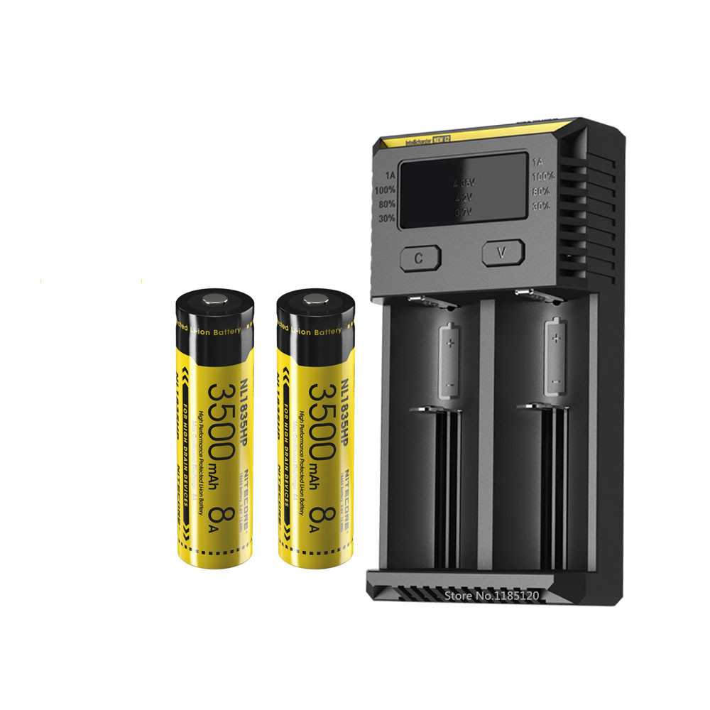 NITECORE – chargeur de batterie intelligent I2, écran OLED, batterie li-ion rechargeable, 8a, 6V, 12,6 wh, NL1835HP, nouveau modèle, 18650