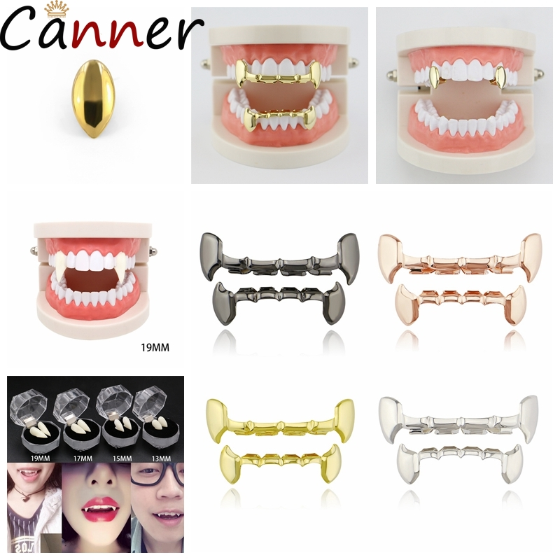 HIP HOP Gold Teeth Grillz Set Top Bottom Punk Teeth Grillz Groll Vampire Teeth Jewelry Gifts For Halloween Rapper Jewelry F40 image