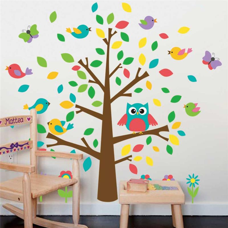 Us 4 69 6 Off Cute Owls Birds Tree Wall Stickers Kids Playroom Decoration Nursery Cartoon Children Baby Home Decals 1015 Animal Mural Art 0 In