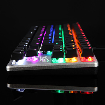 Gaming Mechanical Keyboard 26 Keys Anti-ghosting Backlit 87 LED Metal Wired Keyboard Russian sticker 9 kinds of lighting modes 2