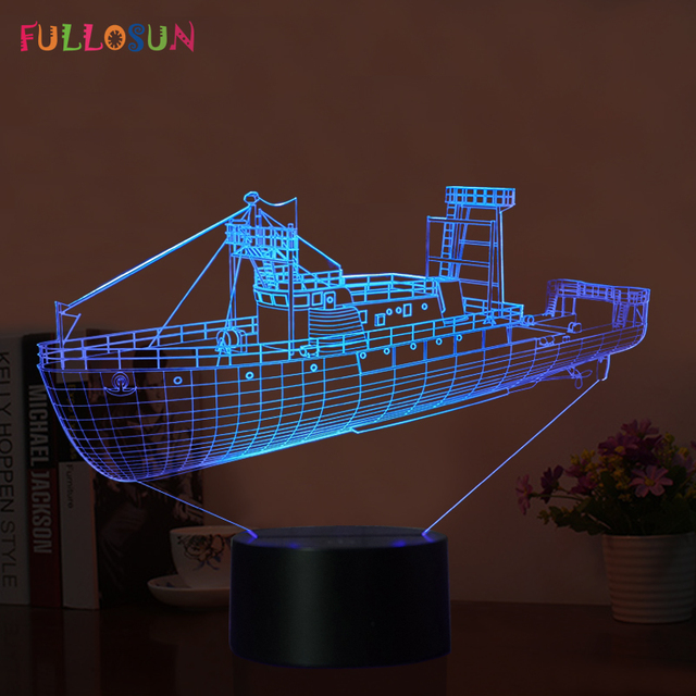 Cargo Schip 3D Illusion Nachtverlichting 7 Kleuren Touch 3D ...