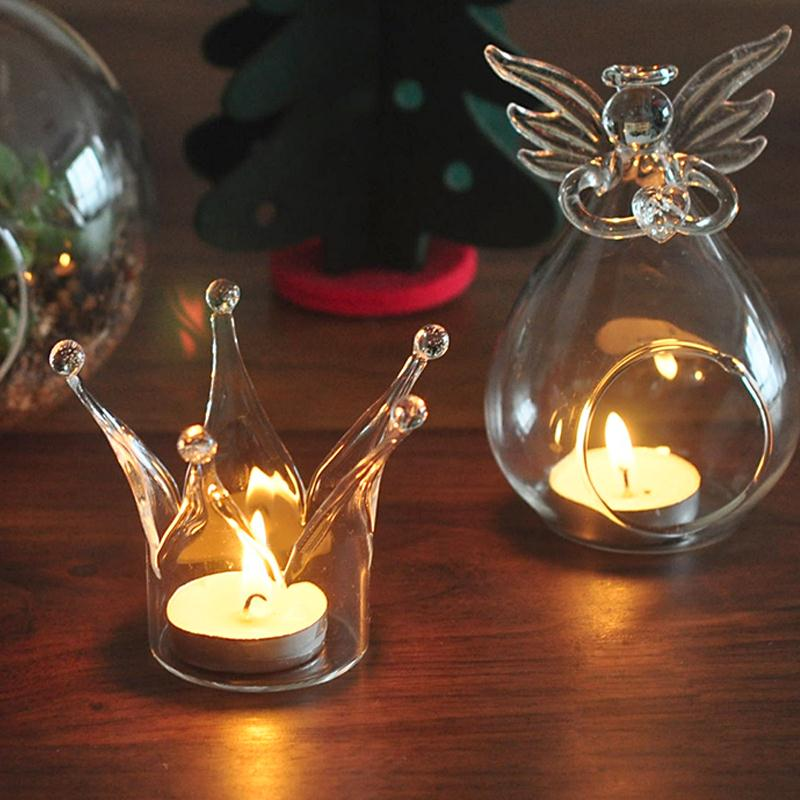 Romantic candle holder crown designed glass crystal