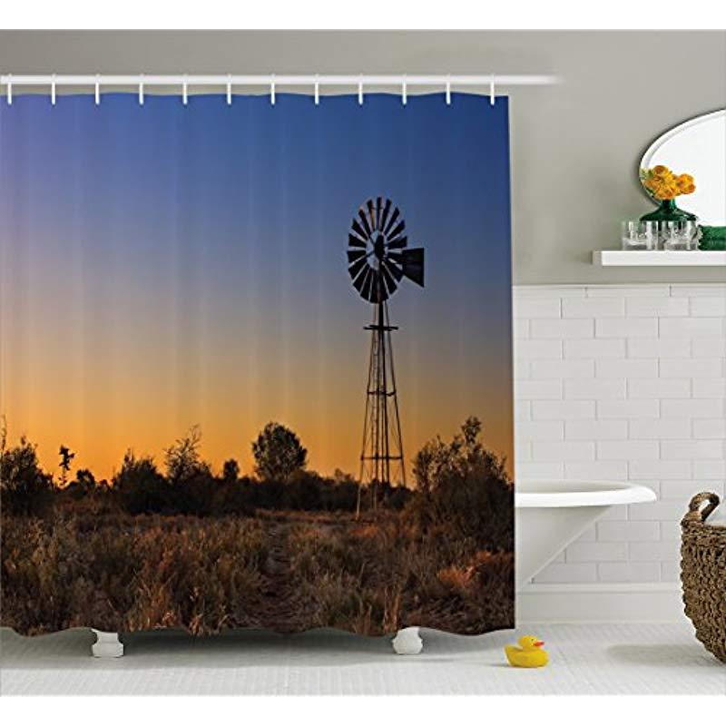 Vixm Windmill Decor Shower Curtain Sunset in Kalahari Peaceful Outdoors Agriculture Rural Nature Image Fabric Bath Curtains