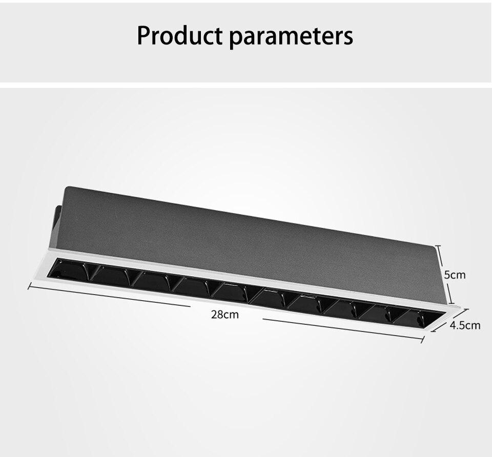 SCON 15 W 10 tête encastré gril LED linéaire ligne lampe bureau COB OSRAM 3000 k/4000 k carré plafond downlight CRI Ra> 85 bar lumière