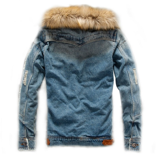 2018 Men Winter Jacket Warm Heavy Hair Collar Denim Jacket Mens Jeans Jacket Thick Warm Outwear Cotton Coats Male Cowboy Clothes