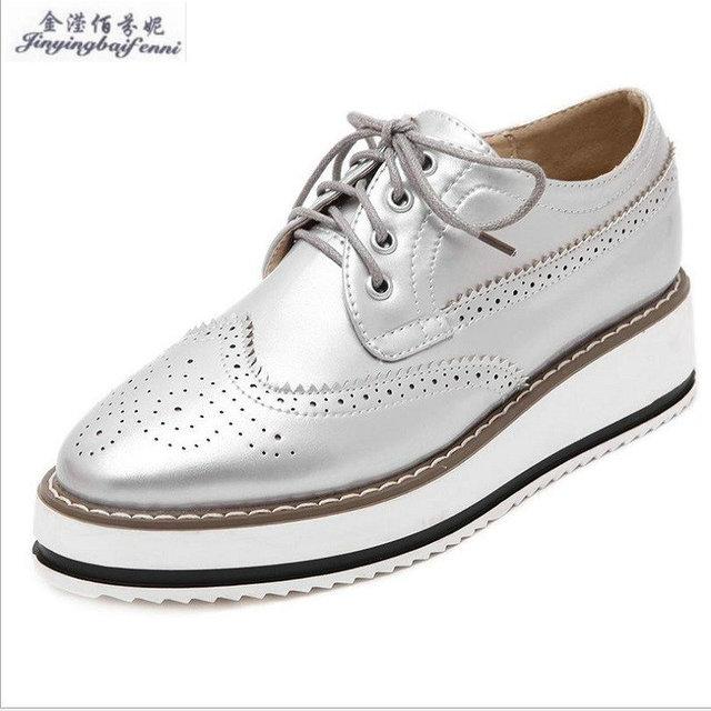 dd243faa 2018 otoño zapatos de plataforma de fondo plano mujer Brockden cordones  zapatos casuales Venta caliente tallado