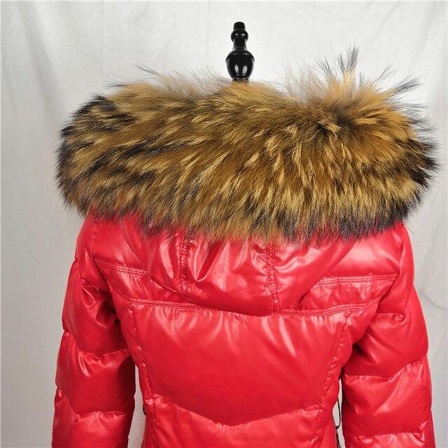100% Raccoon Fur Collar Winter Women's Real Fur Collar Neck Cap 75/80cm Collar Soft Fur Scarf Neck Warmer Scarves Fashion