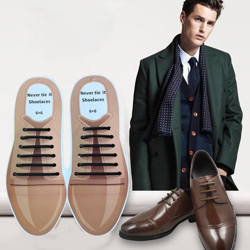 12pcs/set 4 Sizes Men Women Leather Shoes Lazy No Tie Shoelaces Elastic Silicone Shoe Lace Suitable Drop Shipping