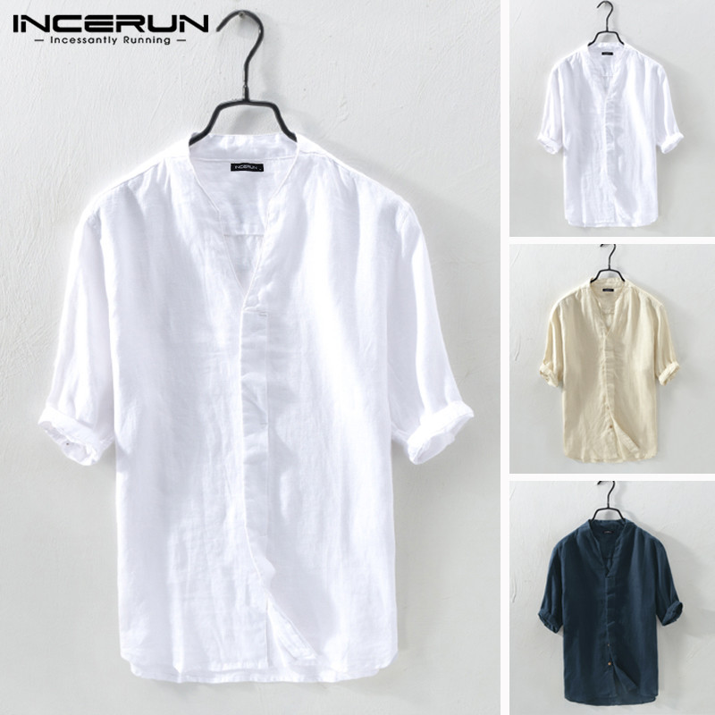 INCERUN Summer Men Brand Shirts Cotton Half Sleeve V Neck Solid Vintage Streetwear Shirts Men Camisa Masculina Harajuku 2020 5XL