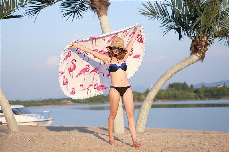 HTB1Isk.SpXXXXbvXXXXq6xXFXXXf - Round Style Microfiber Beach Towel - Flamingo With Tassels Design