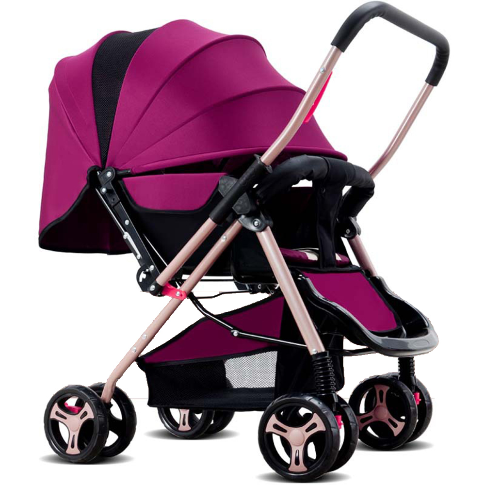 Foldable Stroller Baby Stroller Lightweight Folding Seated Reclining Child Four-Wheel Suspension Umbrella Car 3 Colors