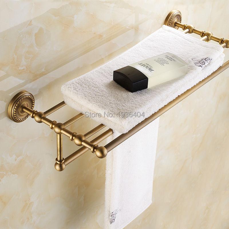 Luxury Design Euro Antique Brass Bathroom Towel Racks Double Towel ...
