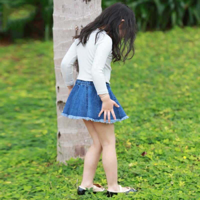 2016 New Summer Style Girl Denim Tutu Mini Skirts Children A Line Skirt For Kids Clothes Patchwork Pettiskirt Fashion In From Mother On