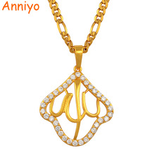 High grade mohammed allah zirconia pendant necklace women gold color jewelry muslim arab
