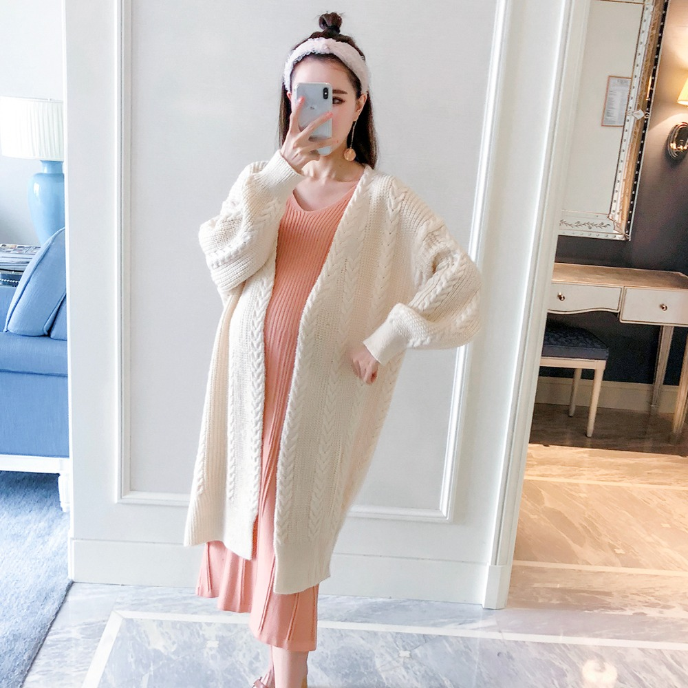 Pregnant women sweater long section 2018 autumn and winter new fashion long-sleeved loose knit cardigan pregnancy twist coat [eam] high quality 2018 autumn spliced organza loose lace up long section double layer collar plaid skirt fashion new set la406