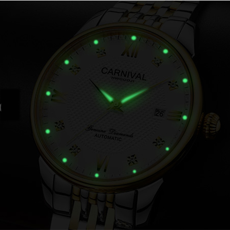 Carnival Watch men Automatic Mechanical Luminous Gold Stainless Steel Waterproof date White Dial Watches цена и фото