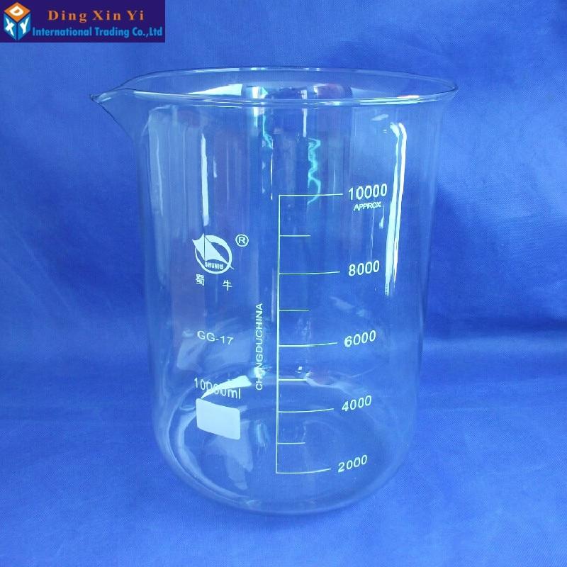 SHUNIU Glass beaker 10000ml,Lab beaker 10000ml,Low form with graduation and spout Boro 3.3 Glass Chinese famous brand