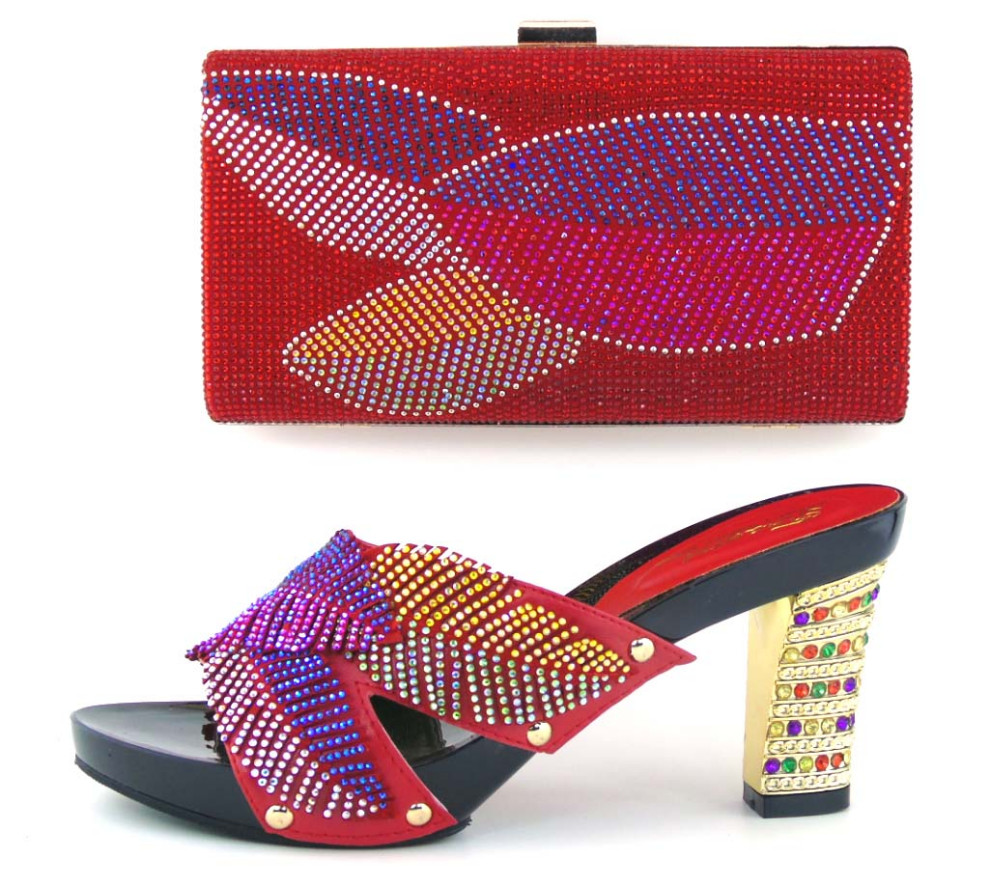 ФОТО Red Shoes With bag Set Fashion Shoes and Bags To Match High Heels Pumps African Shoe and Bag Set Matching Shoes For TH16-42