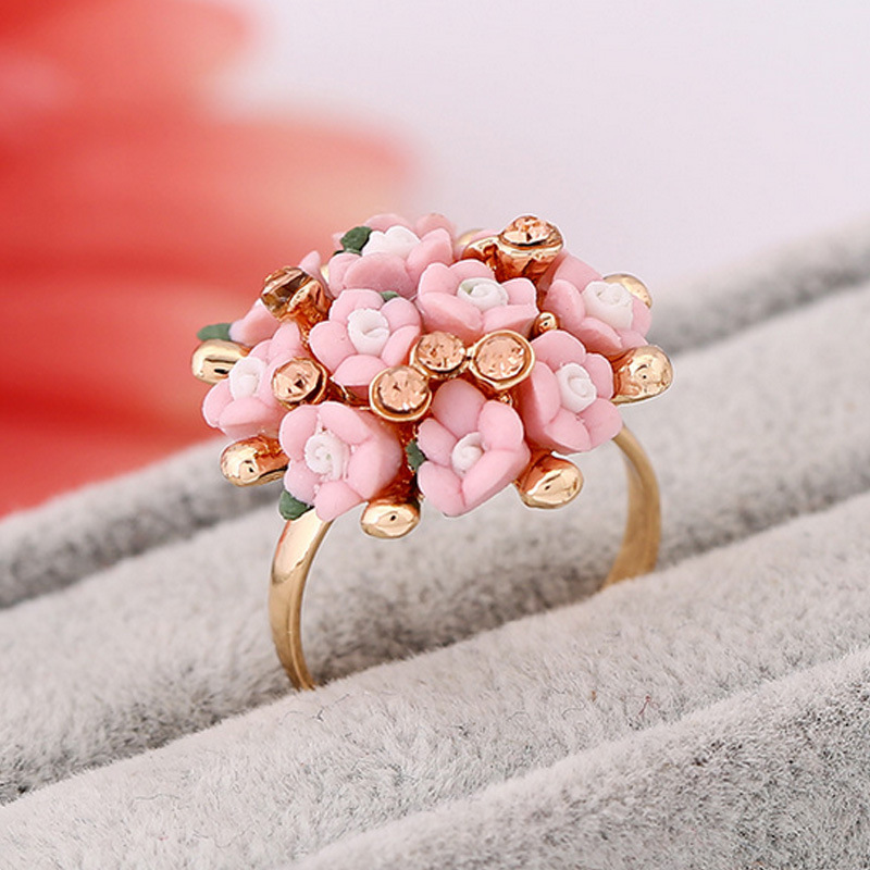 Best buy ) }}H:HYDE Fashion Wedding Rings Jewelry Bague Femme Pink Flower Rings For Women Summer Style 7Colors