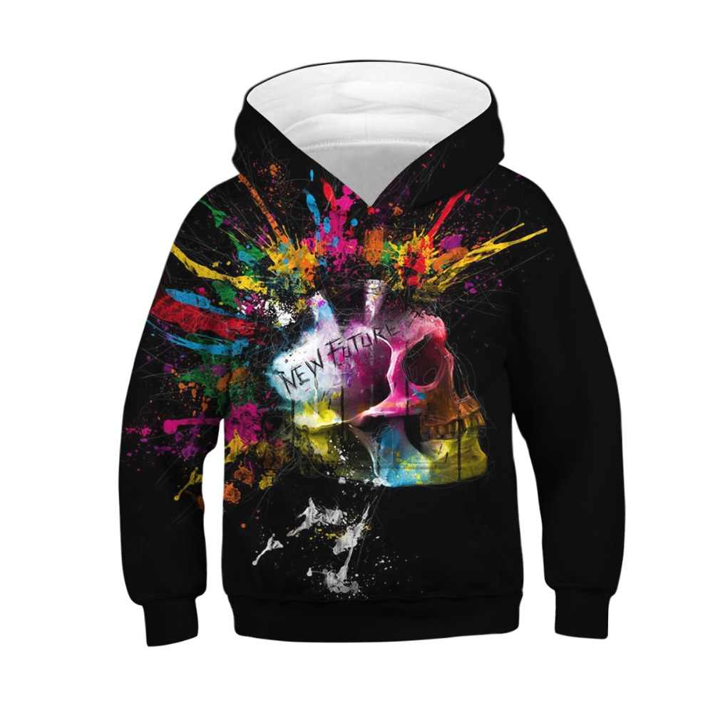 Skull 3D Print Kids Boy Girl Hoodie Hoody Sweatshirt Pullover Jumper Hooded Tops