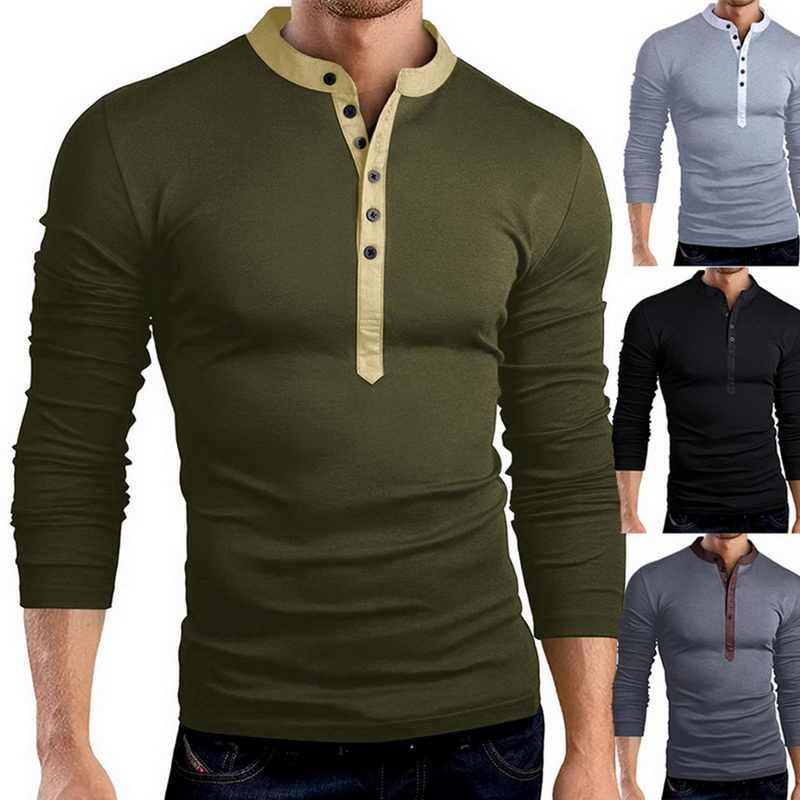 1ee417f8876 Detail Feedback Questions about NIBESSER Men s Solid Color T Shirts Casual  Fashion Button Bottom V neck Slim Long sleeved Threshold Collar T shirt  2019 New ...