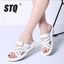 Stq 2020 verão feminino chinelos deslizamento em dedo do pé redondo plana slides sandálias de couro preto branco chinelos chinelos chinelos 857