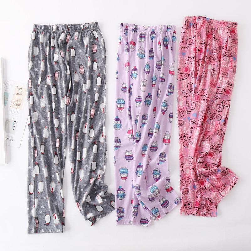 Autumn Plus Size Pants Women Casual Cartoon Sleepwear Bottom Ladies Long Length Nighty Pants Female  Cotton Trousers