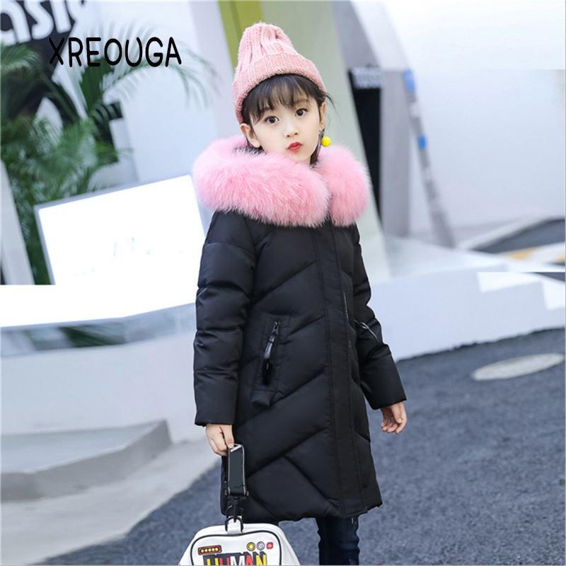 High Quality Kids Girls Down Coat Pink Fur Collar Thicken Big Children Princess Plaid Down Jackets Winter Warm Letter Coat ASY03 high quality plus size 5xl women winter down cotton jackets new fashion solid color hooded fur collar slim warm coat okxgnz a944
