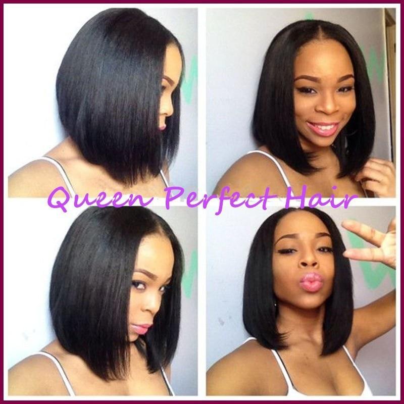 Wig Cap Cosplay DE 12 Inches Medium Short Curly Black Bobo Style Lace Front Wig
