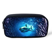 FORUDESIGNS Women Make Up Large Cosmetic Bag Multicolor Animal Pen Pouch Shark Dolphin
