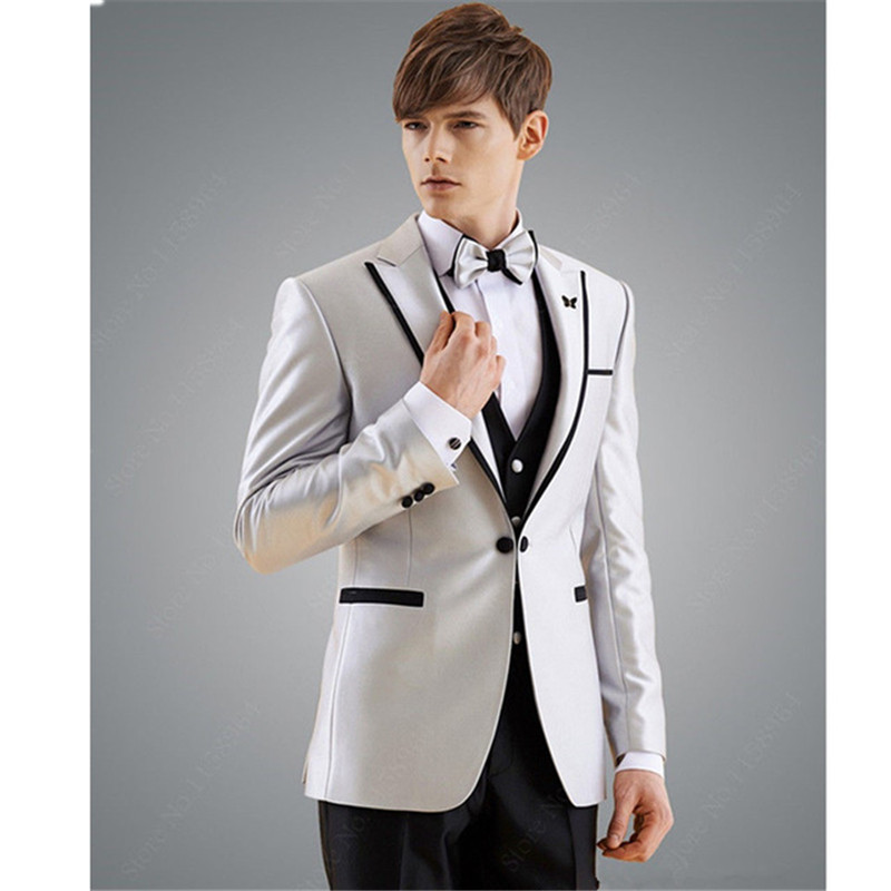 Fashion Men's Classic Silver Lapel Single-breasted Men's Business Office Professional Set (Jacket + Pants) Custom Made