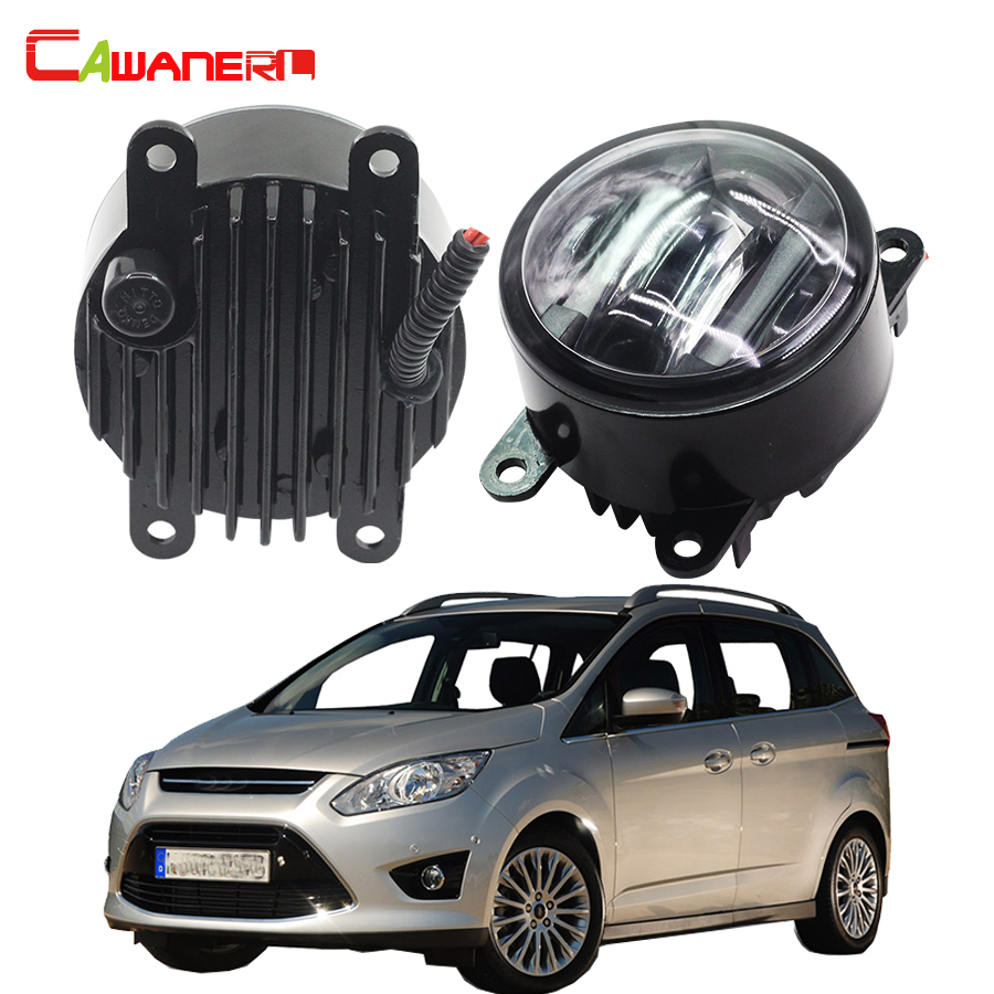 Cawanerl 2 Pieces Car Styling LED Front Fog Light Daytime Running Lamp DRL For Ford Grand C-MAX Fusion Tourneo Connect Transit