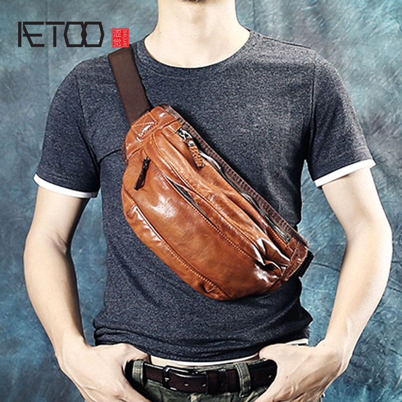 AETOO Vintage handmade mens chest bag leather motorcycle bag casual waist bag first layer leather Messenger men bagAETOO Vintage handmade mens chest bag leather motorcycle bag casual waist bag first layer leather Messenger men bag