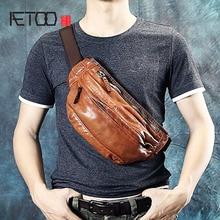 купить AETOO Vintage handmade men's chest bag leather motorcycle bag casual waist bag first layer leather Messenger men bag дешево