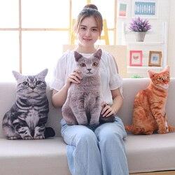 Simulação de pelúcia gato travesseiro macio recheado realista animal almofada sofá decoração dos desenhos animados brinquedo pelúcia crianças miúdo kawaii presente