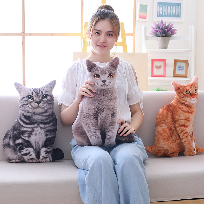 Simulation Plush Cat Pillow Soft Stuffed Realistic Animal Cushion Sofa Decor Cartoon Plush Toy Children Kid Kawaii Gift