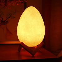 18CM Multiple Modes Egg Shape Light 3D Printing Night Lamp With a Wooden Frame Table Lights WIth Remote Control For Bedroom